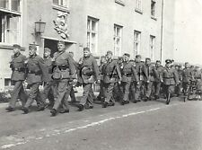 WWII German Large RP- Soldier- Rifle- Formation March by Patriotic Mural- Statue