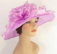New Church Kentucky Derby Party Wedding Organza Lace Dress Hat 1593 Lilac