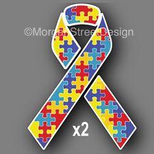 "Set of Two Autism Awareness 3"" Ribbon Vinyl Decal Sticker Car"