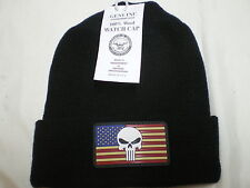 Government Issue 100%Wool Watch Cap PVC USA Flag Punisher Patch Beanie Knit Hat