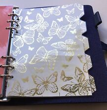 Filofax / Kikki A5 Organiser Planner - Gold Butterfly Dividers - Laminated