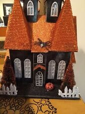 Vintage Style Halloween Lighted Haunted Putz House Cardboard Glitter Victorian