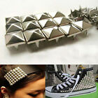 100x Silver Pyramid Studs Punk Rivets Spots Spikes For Bag Shoes Clothes Leather