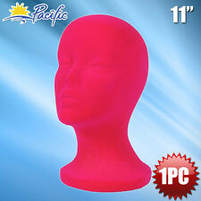 "11"" STYROFOAM FOAM PINK velvet MANNEQUIN MANIKIN head display wig hat glasses"