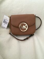NWT Michael Kors Brown Fulton Leather Small Crossbody Bag Brown Purse Clutch