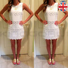 UK Womens Summer Bandage Mini Dress Celeb Cocktail Lace Crochet White Sundress