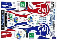 #76 Porsche 911 RSR Matmut 2011 1/64th HO Scale Slot Car WATERSLIDE DECALS