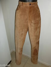 ANN TAYLOR MADE USA 100% GENUINE LEATHER BROWN WESTERN PANTS TROUSERS SZ 2