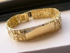 14mm 10K SOLID GOLD MEN'S NUGGET STYLE ID BRACELET 8.5""
