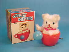"""VINTAGE """"JOLLY KITTEN"""" WIND UP TOY CAT * NEW OLD STOCK BOXED * JAPAN 1960's"""