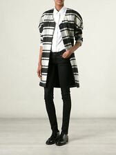 MAISON SCOTCH BLACK CREAM CHECK PLAID WOOL OVERSIZED COAT 3 4 12 14 40 42 L £195