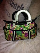 **NEW** ISABELLA FIORE Green and Black Patent printed handbag