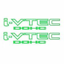 Two(2) Neon Green HONDA I-VTEC DOHC Car Decal Vinyl Window Wall Sticker JDM