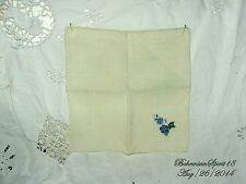 ANTIQUE VINTAGE HAND EMBROIDERY BLUE FLOWER FINE LINENS HANDKERCHIEF