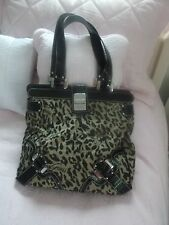 GUESS BLACK/BEIGE ANIMAL PRINT LARGE CANVAS HANDBAG NEW W/OUT TAGS