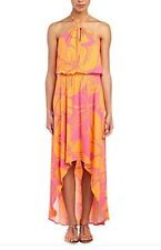 NWT Tori Richard $165 Puapua Geneve High Low Maxi Dress Halter Hawaiian Pink XXS