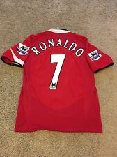 MANCHESTER UNITED HOME SHIRT 2004/06 ADULTS SMALL (S) RONALDO 7 VINTAGE JERSEY