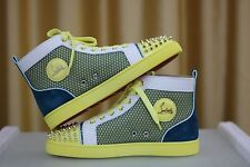 NEW CHRISTIAN LOUBOUTIN Lou Spike Louis Patent Multi High Mens Sneakers Shoe 42