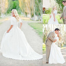 Modest formal Wedding Dresses With Half Sleeves Lace Bohemian Bridal Gowns