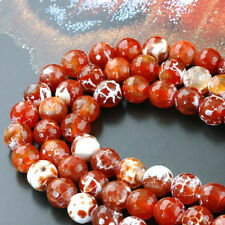 Natural Fire Agate Beads Strands, Faceted Round, OrangeRed, 6mm 14.17""