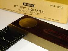 "VTG General 8""Try Square No.830 Rosewood? Rare Cabinetmakers NOS Tool USA Scarce"