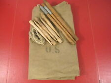 WWII US Army Khaki Canvas Shelter Quarter Not Half Tent w/Poles & Stakes - 1942