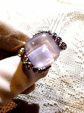 Vintage Genuine White Moonstone 925 Sterling Silver Real Cubic Zirconia Ring