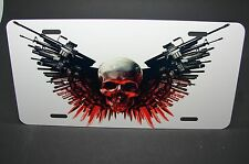 SKULL METAL LICENCE PLATE FOR CARS THE EXPENDABLES  SKULL WITH WEAPONS