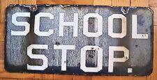 Vintage 2-Sided Trolley Porcelain Station Sign School Stop