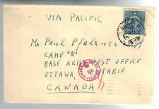 1941 Shanghai China Censored Cover Jewish Ghetto Canada Army base Paul Pfalznes