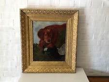 Antique Oil on Canvas Painting of Hunting Dog w/ Bird / Game in a Gold Frame