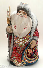 "12.5""Russian SANTA w/bag of  presents Wood Hand Carved Hand Painted Father Frost"
