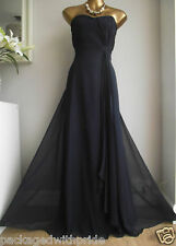 BN COAST NAVY BLUE SILK MAXI DRESS & BROOCH PROM PARTY  +MONSOON 2ml PERFUME 18