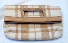 NWOT, Banana Republic Wool Plaid & Leather Fold Over Clutch  Handbag