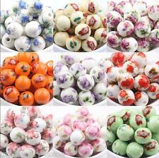 Wholesale 10pcs 10mm Mixed Flower Round Ceramic Porcelain Loose Spacer Beads