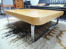 SOLID OAK AND STEEL RETRO COFFEE TABLE *FREE DELIVERY CHROME VINTAGE 80`S