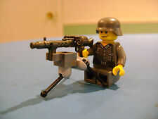 LEGO LOT #150 CUSTOM WW2 WORLD WAR 2 DARK GRAY GERMAN SOLDIER WITH MACHINE GUN