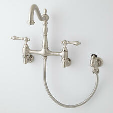 Felicity Wall Mount Kitchen Faucet with Side Spray Brushed Nickel