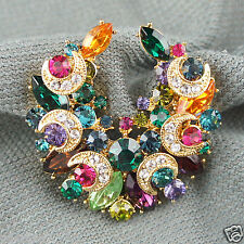 14k Gold GF Swarovski elements colourful crystals brooch pin
