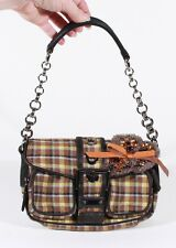 PRADA YELLOW & BROWN SMALL PLAID EVENING BAG / BAGUETTE W/ LEATHER & CHAIN STRAP