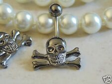 Hemitite Colored Skull with Crossing Bones Navel/Belly Ring.