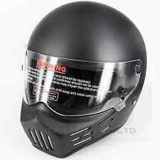 FRP Motorcycle Bobber Full Face Racing Helmet Bandit Style Mat Black DOT X-Large