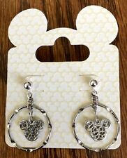 Disney Jewelry MICKEY MOUSE Circle Silver Icon Post Earrings NEW ON CARD