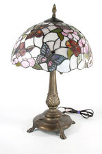 "Springdale Lighting Dale Tiffany Stained Glass Butterfly 26"" Table Lamp Bronze"