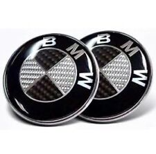 BMW Boot Bonnet Badge Pair 82mm & 74mm Carbon Fibre Emblem Logo 1 3 4 5