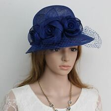 New Woman Church Derby Cocktail Party Sinamay Ascot Cloche Dress Hat 191R.BLUE