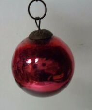 1800's Germany Heavy Glass Kugel Christmas Ornament - RED