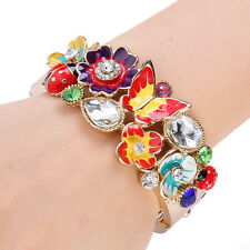 Flower Butterfly Ladybug Bracelet Clear Rhinestone Crystal Multi Insect Gold GP