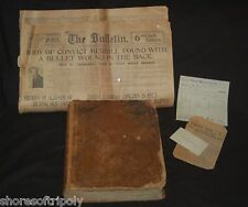 1853 ID'd FAMILY BIBLE IOWA & SAN FRANCISCO NEWSPAPER  ~CONVICT ~ MISC. PAPERS