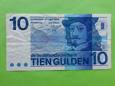 Netherlands $10 Gulden 25 April 1968 (Used)
